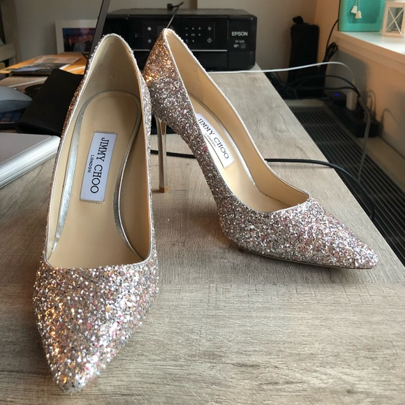 Jimmy Choo Romy Pink And Silver Glitter